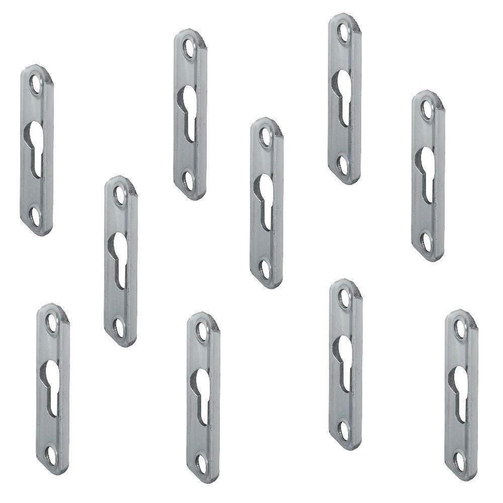 Einh/ängebeschlag zum Einlassen oder Schrauben Linsenkopfplatte versenkt mit 2 Langl/öchern Gedotec Schrankaufh/änger LIKO Bettverbinder aus Stahl 16 x 75 x 3,5 mm 10 St/ück