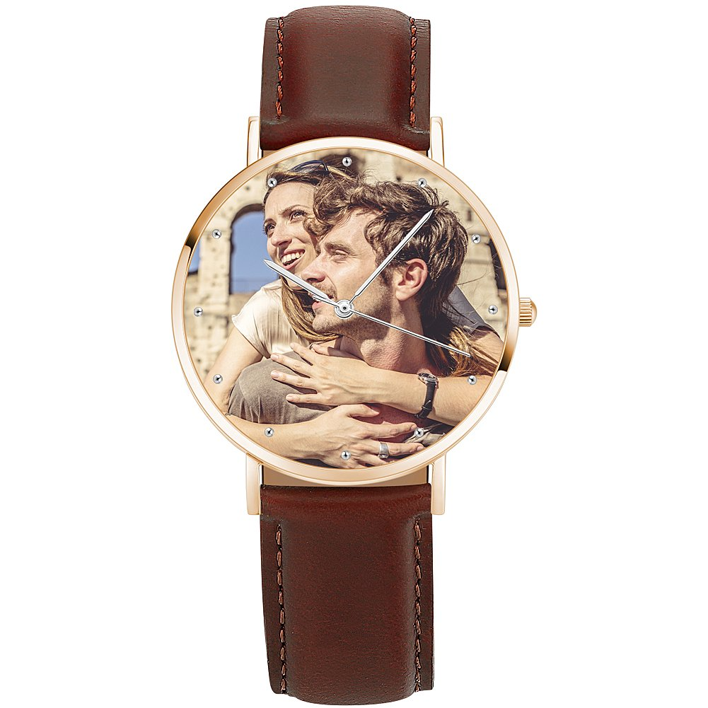 SOUFEEL Custom Photo Watch Personalized Rose Gold Wrist Watch Case for Women Men Brown Leather Band 40mm by SOUFEEL