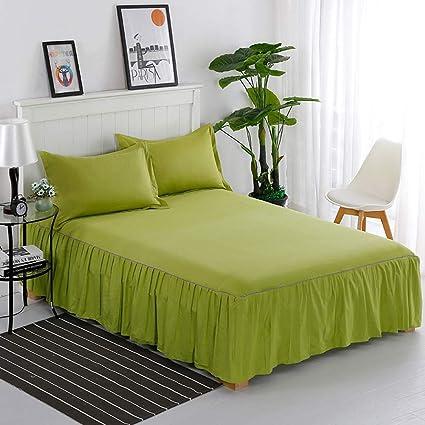 Green Bed Skirt Queen.Amazon Com Berteri Solid Bed Skirt 100 Cotton Dustproof