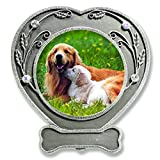 Dog Photo Frame - Pewter Finished Heart Shaped Frame with Crystals - Pet Remembrance Frame - Dog Picture Frame - Pet Memorial