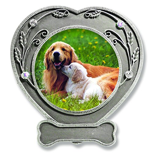 BANBERRY DESIGNS Dog Photo Frame - Pewter Finished Heart Shaped Frame with Crystals - Pet Remembrance Frame - Dog Picture Frame - Pet Memorial