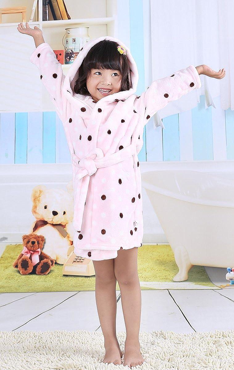Aivtalk - Bebés Niños Niñas Albornoz de Baño Pijama Super Suave de Franela con Capucha Estampado de Lunares Color Rosado - Longitud 90cm: Amazon.es: Ropa y ...