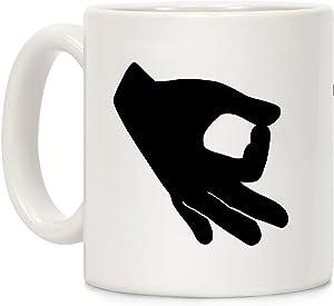 LookHUMAN Finger Circle White 11 Ounce Ceramic Coffee Mug