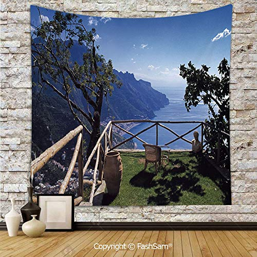 FashSam Polyester Tapestry Wall Mediterranean Scenic View Mountain Cliffs Sea Coast Travel Destination Hanging Printed Home Decor(W59xL90) -