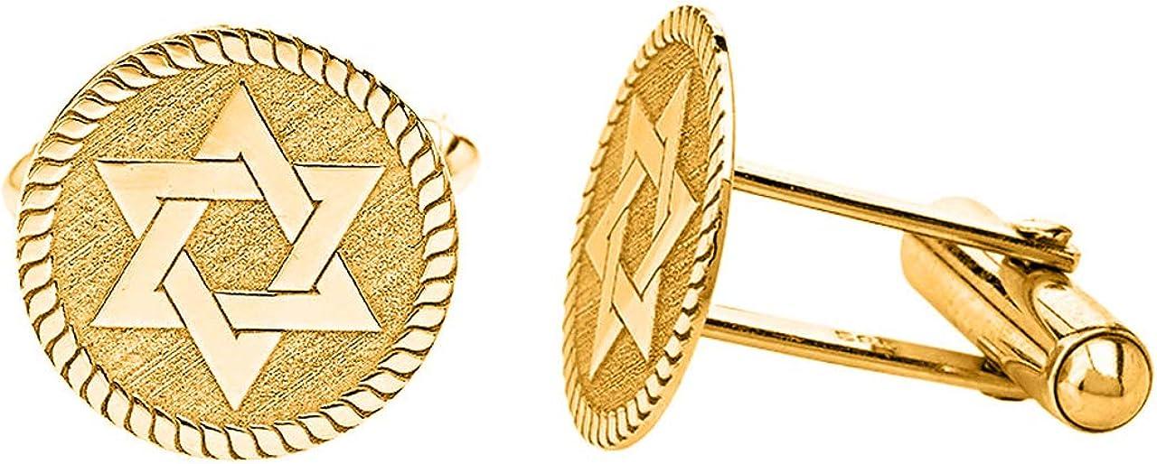 Certified 14k Yellow Gold Star of David Cufflinks Pair Judaism Jewish Cuff Links