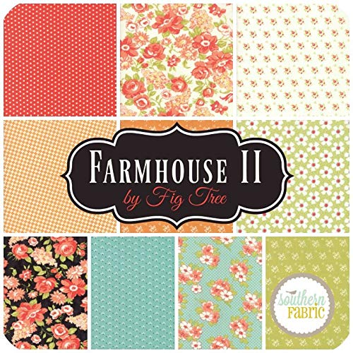 United Notions Farmhouse II Fat Quarter Bundle (10 pcs) by Fig Tree and Co 18 x 21 inches (45.72cm x 53.34cm) Fabric cuts DIY Quilt Fabric