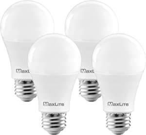 MaxLite A19 LED Bulb, Enclosed Fixture Rated, Daylight 5000K, 100W Equivalent, 1600 Lumens, Dimmable, E26 Medium Base, 4-Pack