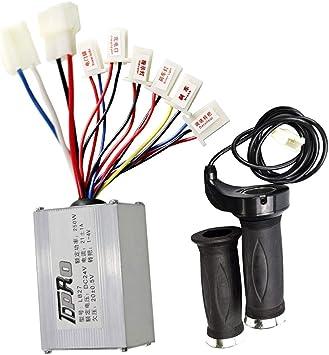 24V 250W Motor Brush Controller+Throttle Grips for Electric Bike Scooter pro