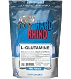 Hard Rhino L-Glutamine Powder, 500 Grams (1.1 Lbs), Unflavored, Lab-Tested, Scoop Included