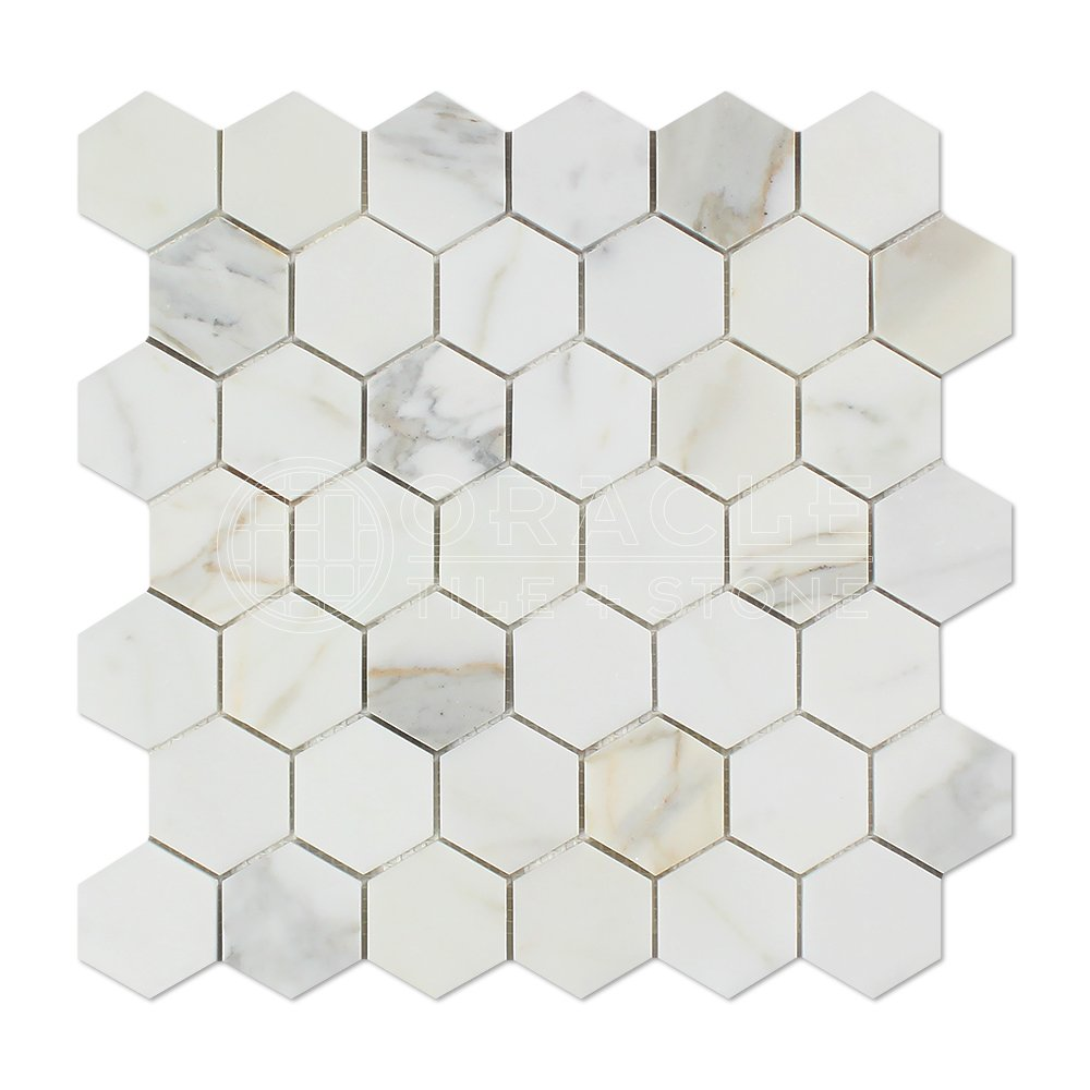 "Honed Calacatta Gold Hex Mosaic Marble Tile in 2"" x 2"" size"