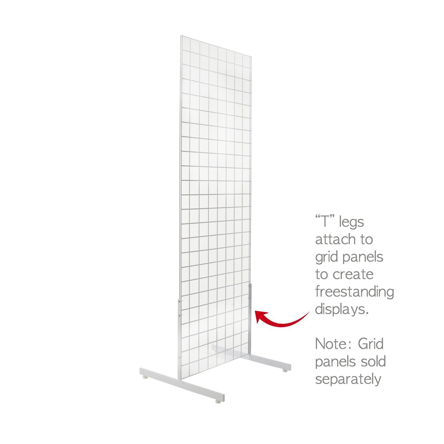 White Gridwall T Base Rectangular Tube With Levelers (Set of 3 Pairs) White Finish ... by Only Hangers (Image #3)