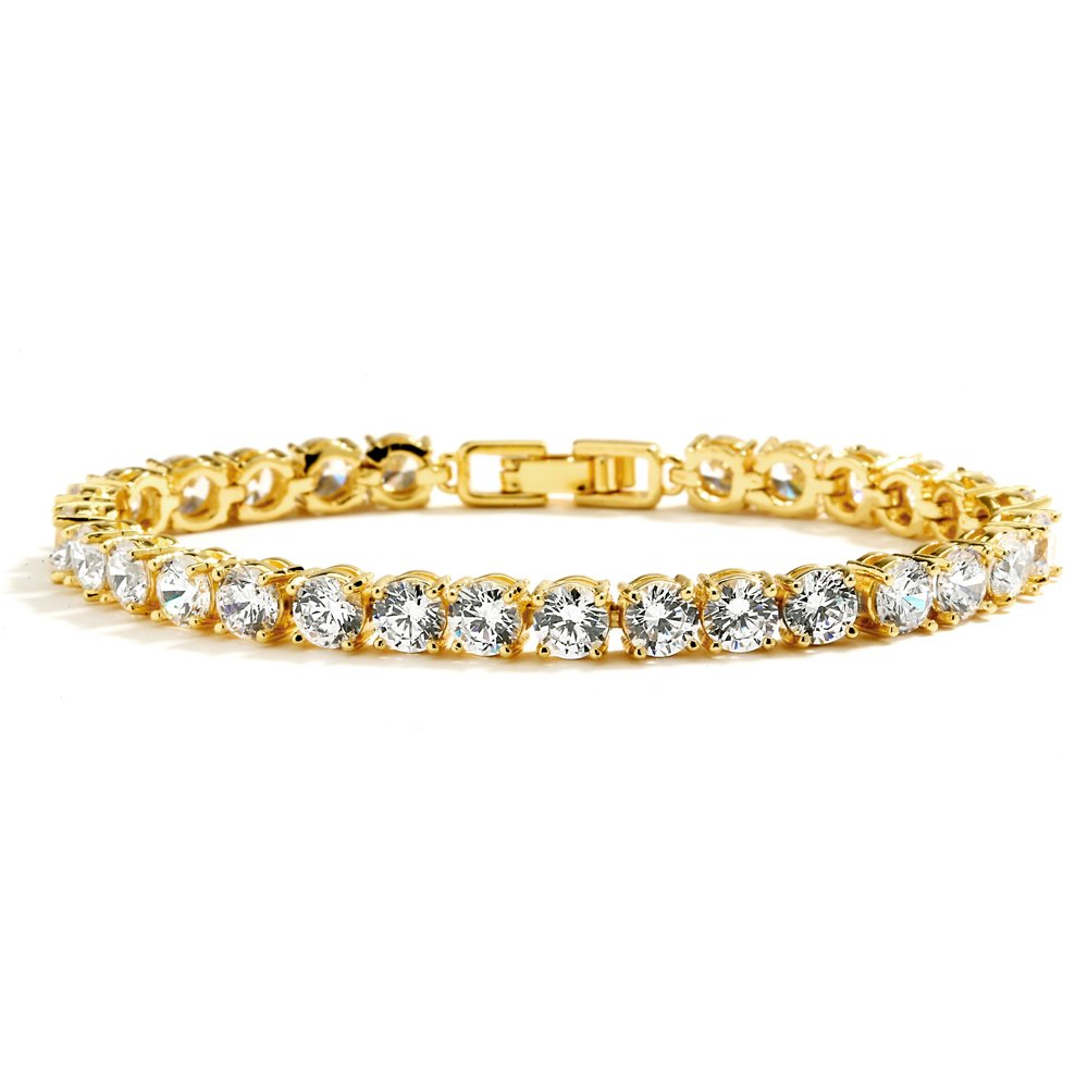 Mariell Glamorous 14K Gold Plated CZ Bridal Tennis Bracelet -Petite 6 1/2'' Size Perfect for Smaller Wrist