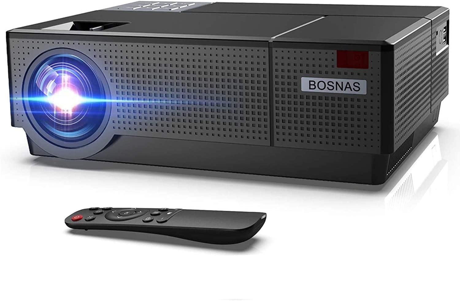 BOSNAS Native 1080P Projector Video 7000 Lux LED Projector 300'' Movie Display Adjustable ±50° 4D Keystone Correction Support 4k for Home Theater for TV Stick HDMI VGA USB Laptop iPhone Android