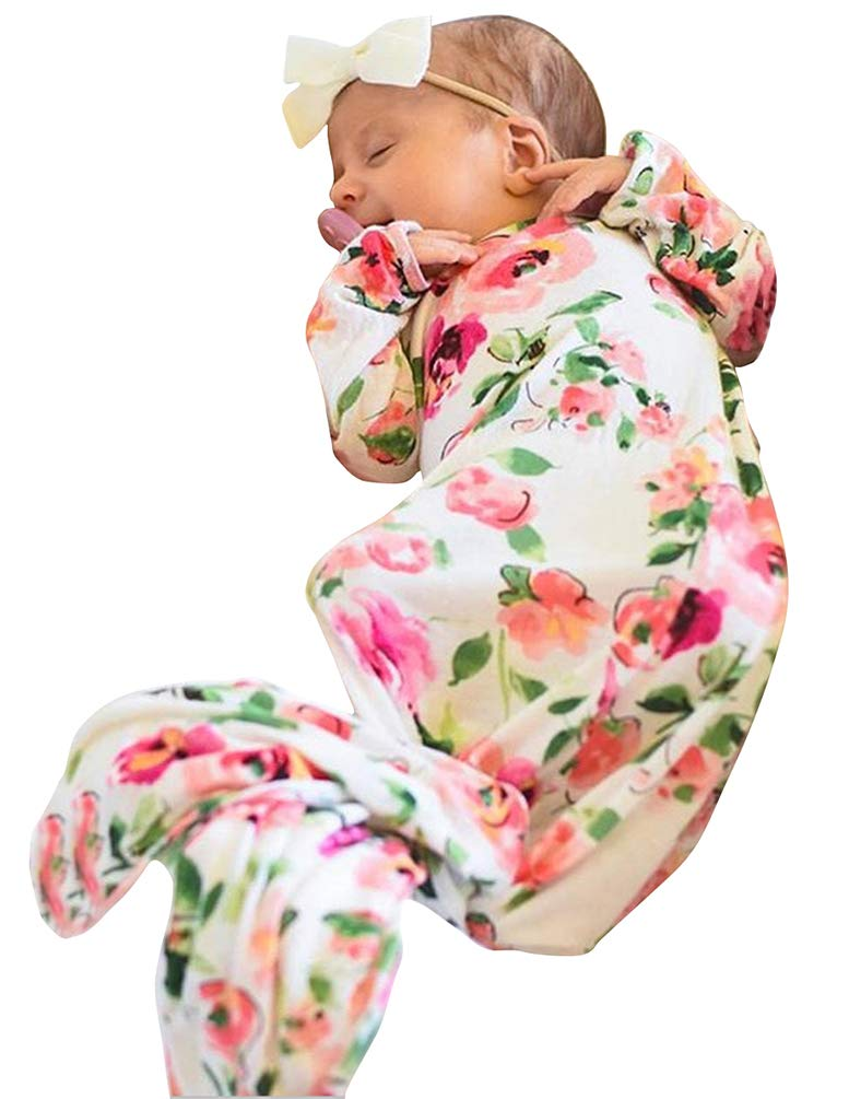Newborn Baby Sleeping Floral Gown Headband Sleepwear Romper Sleeping Bags Sleep Gown with A Tie Bottom