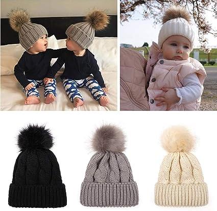 Baby Kids Boy Girl Warm Knitted Beanie Hat Fluffy Fur Pom Crochet Hemming Cap