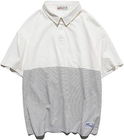 Manga Corta Camisa Polo a Rayas for Hombre de Color Blanco Estudiantes de algodón for niños Cuello de Manga Corta con Cierre de botón Playera Playera (Color : Blanco, tamaño : Metro):