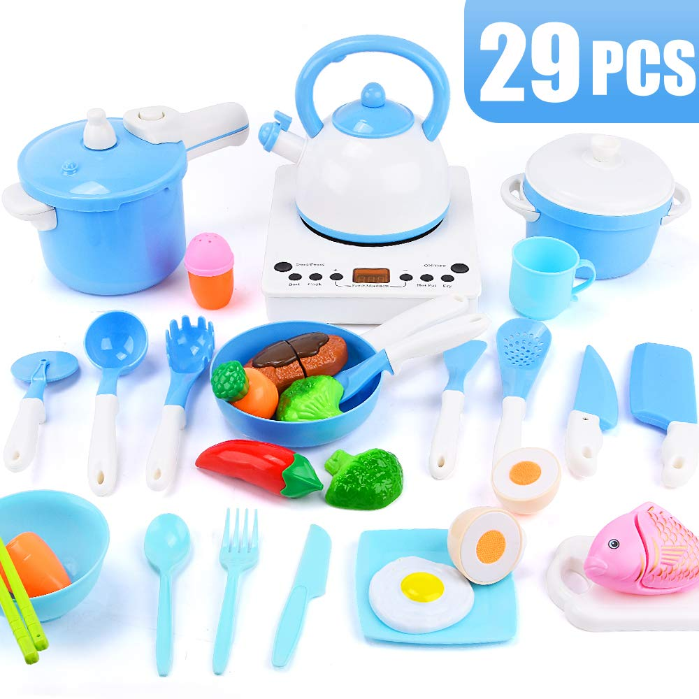 Sotodik 29PCS Pretend Kitchen Cooking Toys Set Simulated Induction Cooker,Pots,Pans,Utensils,Cookware Playset Cutting Toys,Educational Toys for Baby Toddler Girls Boys (Blue) by Sotodik