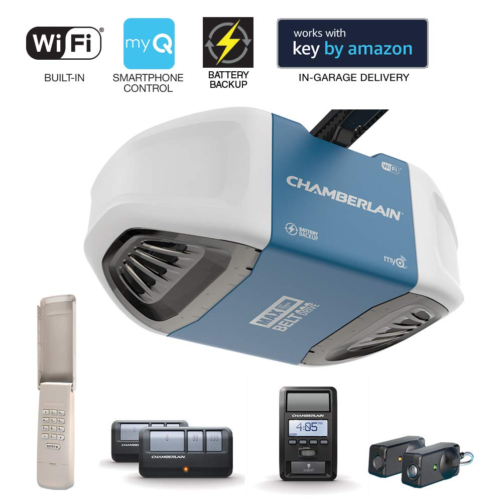 Chamberlain Group Chamberlain B970 Smartphone-Controlled Ultra-Quiet & Strong Belt Drive Garage Door Opener with Battery Backup and MAX Lifting Power, Blue by Chamberlain