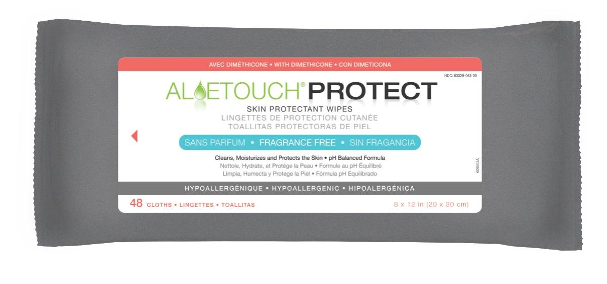 Medline AloeTouch PROTECT Skin Protectant Cleansing Cloth Wipes, 576 Count, with Dimethicone, Unscented, 8 x 12 inch Adult Large Incontinence Wipes