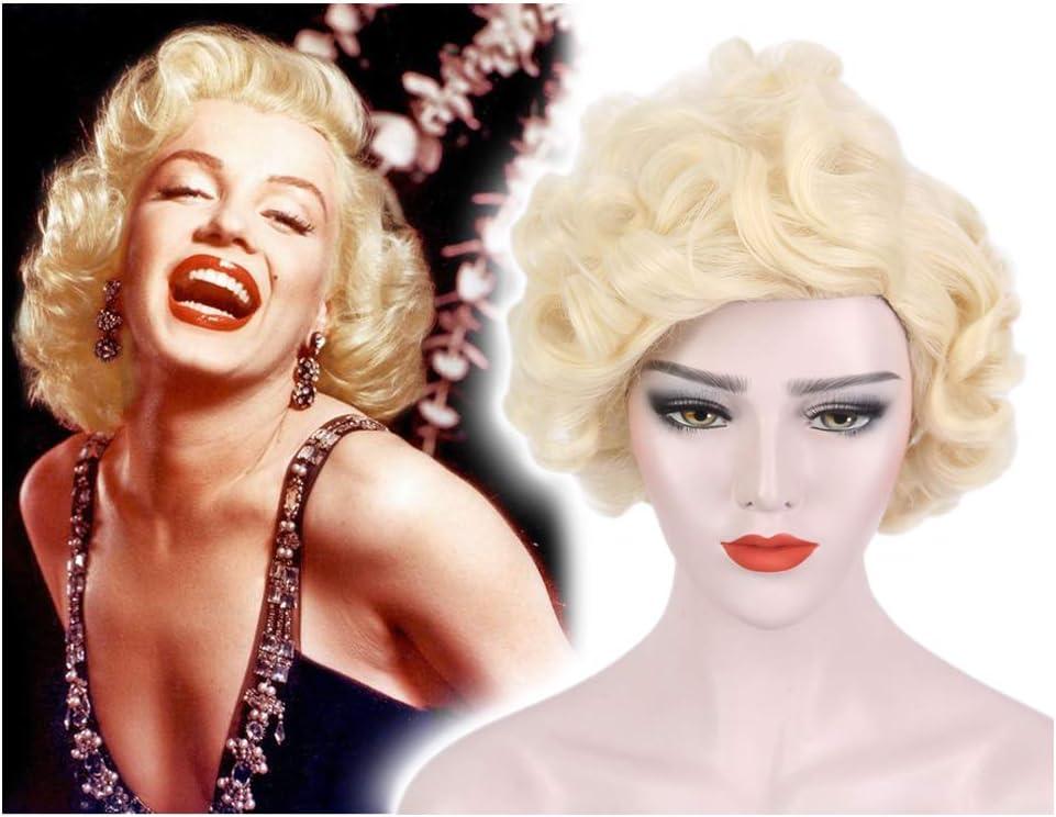 STfantasy Marilyn Monroe Peluca Platino rubio corto rizado capas ...
