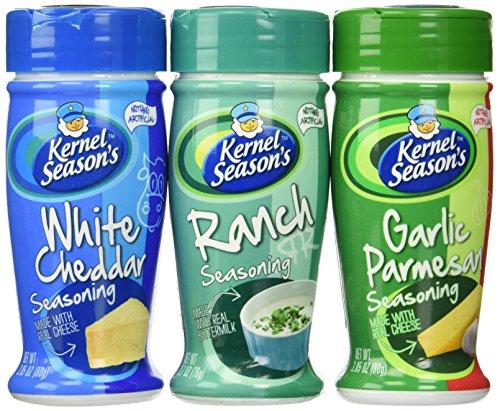 Kernel Season's Popcorn Seasoning Variety of 3, Ranch Parmesan & Garlic and White Cheddar