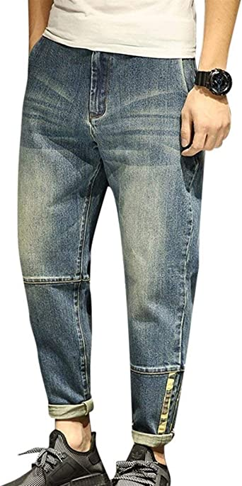 Pantalones De Mezclilla Slim Jeans Para Look Hombre Skinny Usados Look Washed Casual Pantalones De Mezclilla Vintage Loose Casual Pantalones De Mezclilla Color Blau Size 38 Waist97cm Amazon Es Ropa Y Accesorios