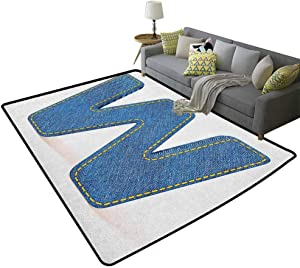 Letter W Non-Slip Kids Carpet Symmetrical Latin Letter Capital W with Blue Jean Pattern Typography Design Print Modern Abstract Colorful Area Rug Blue Yellow 71 x 106 Inch