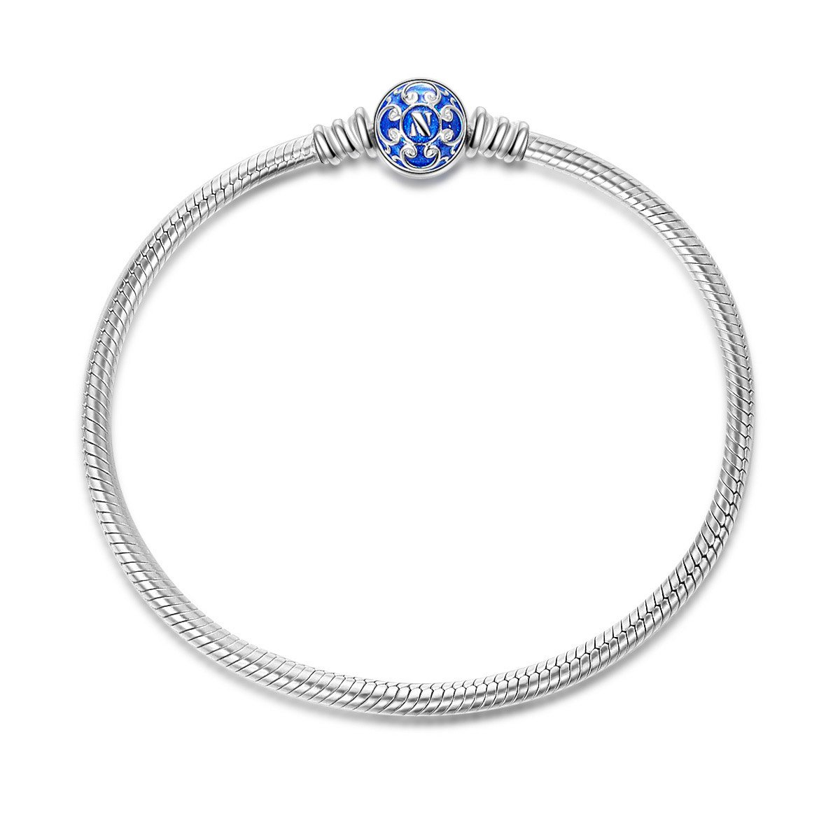 NinaQueen 925 Sterling Silver Snake Chain Bracelet with Blue Clasp Charms 8.3 Inches