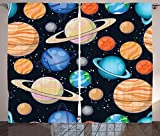 Galaxy Curtains 2 Panel Set Cute Galaxy Space Art Solar System with Planets Mars Mercury Uranus Jupiter Venus Kids Print Living Room Bedroom Decor Multi