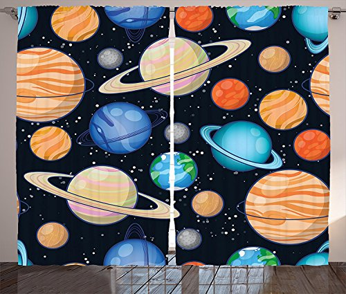 Galaxy Curtains 2 Panel Set Cute Galaxy Space Art Solar System with Planets Mars Mercury Uranus Jupiter Venus Kids Print Living Room Bedroom Decor Multi by sophiehome