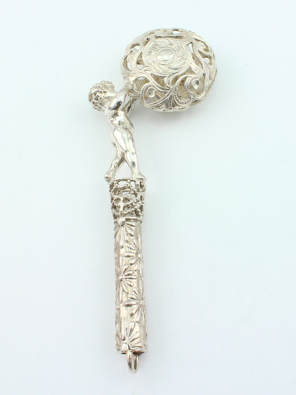 Silver Handmade Rattle ''A boy with a ball''