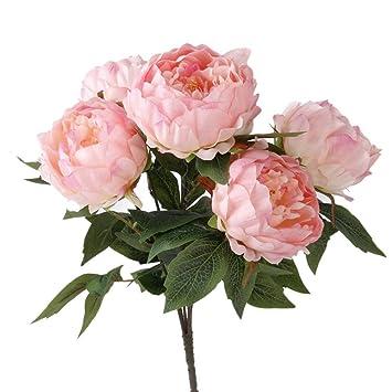 Rosa Kuenstliche Pfingstrose Seide Blumen Bukett DE