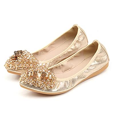 a67bf9138e21c5 THE LONDON STORE Women s Golden Leather Rhinestone Ballet Flat Sandals  (US-4