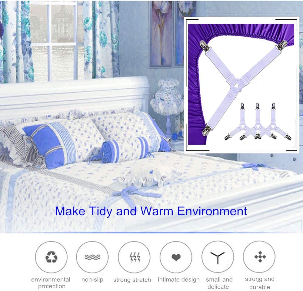 Elastic Adjustable Bed Sheet Straps with Heavy Duty Grippers Clips Upgraded Triangle Bed Sheet Fasteners HZAZF 4PCS Bed Sheet Holder Straps Black