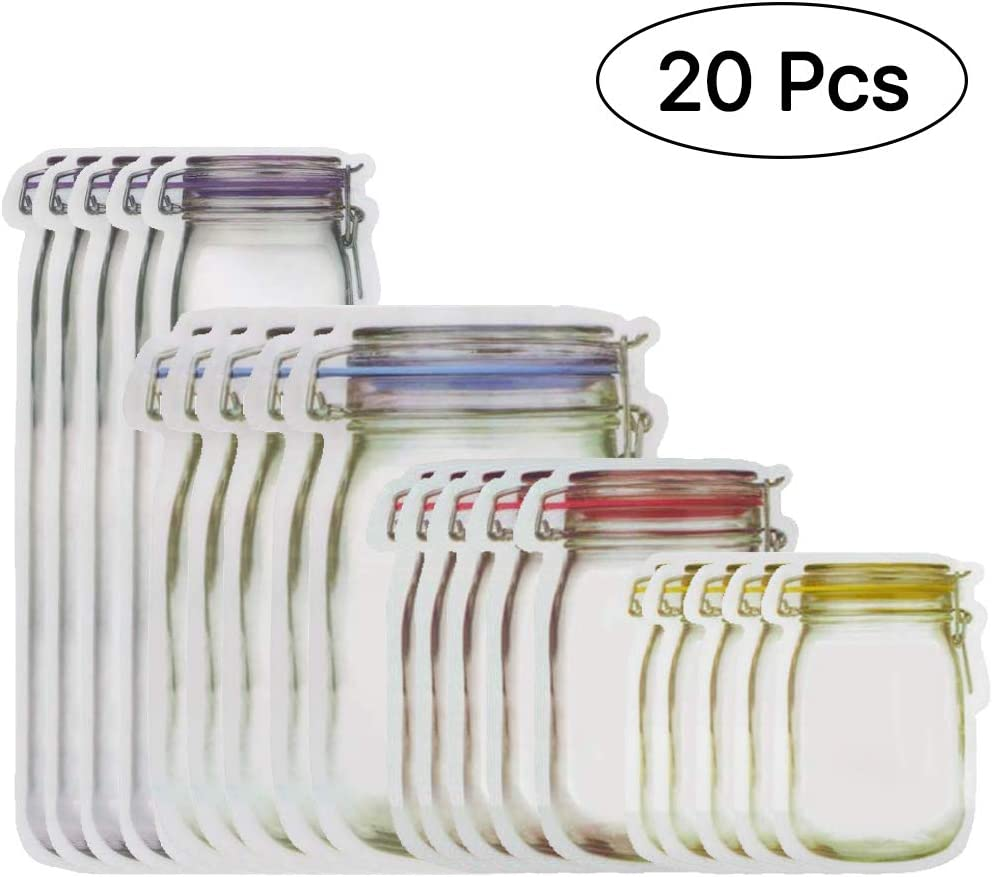 20 Pcs Mason Jar Zipper Bags, Reusable Airtight Seal Food Storage Bags, Multi-Size Food Safe Material Leak-Proof Saver Bags for Travel Camping and Kids