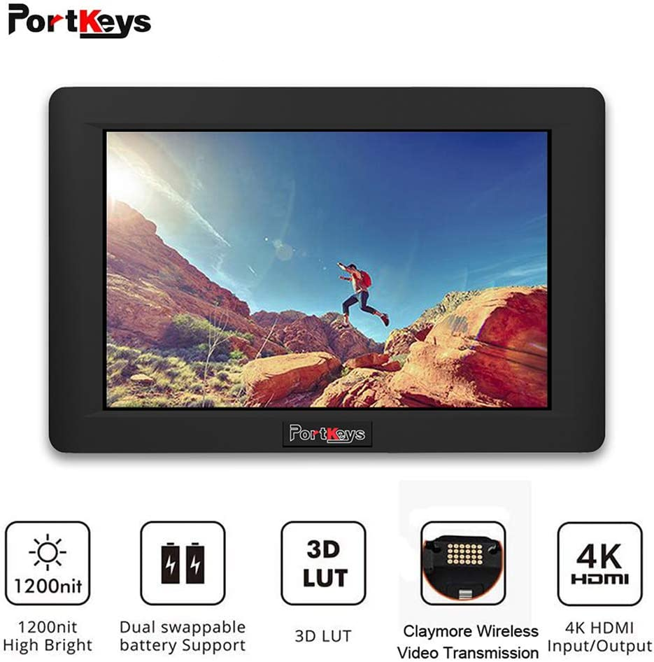PortKeys HH7 7 Inch 1920x1200 On Camera Field Monitor 1200nit with HLG/3D LUT,4K HDMI In/Out Put, Support Wireless Claymore, Dual Swappable Battery Supply
