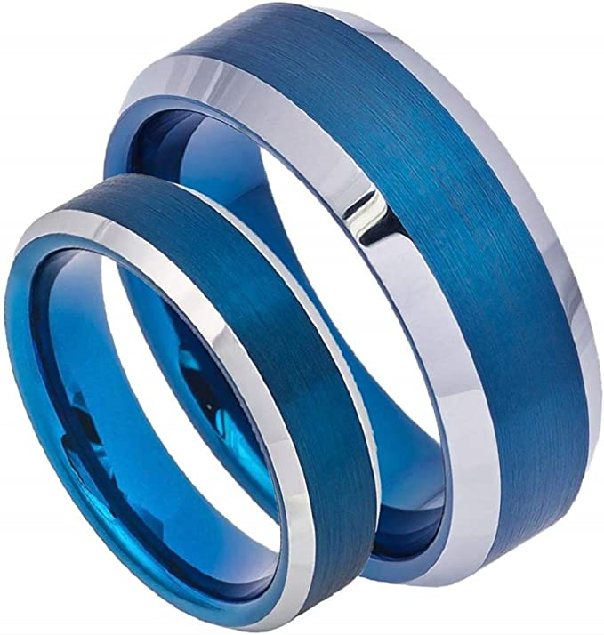 Personalized Tungsten Wedding Band Ring Black and Blue IP Plated Comfort Fit Free engraving