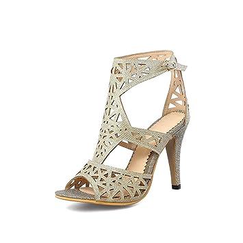 Mode Sommer Heels Große Sandalen Damen Lady's Stiletto High Größe QoErxBeWdC