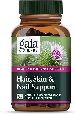 Gaia Herbs Hair, Skin & Nail Support, Vegan Liquid Capsules
