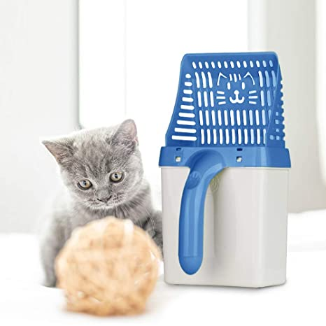 ASHOP Pala de Arena para Gatos, Sistema de Filtro de procesador de Caca de Mascotas