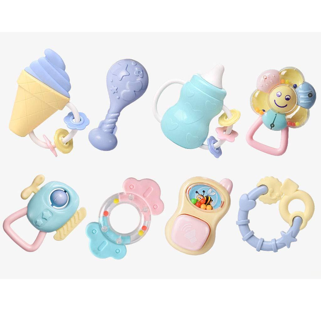 Rassel Baby Infant Neugeborenen ersten Satz von Spielzeug, Baby Rassel Beißring Spielzeug-Set (Farbe : A)