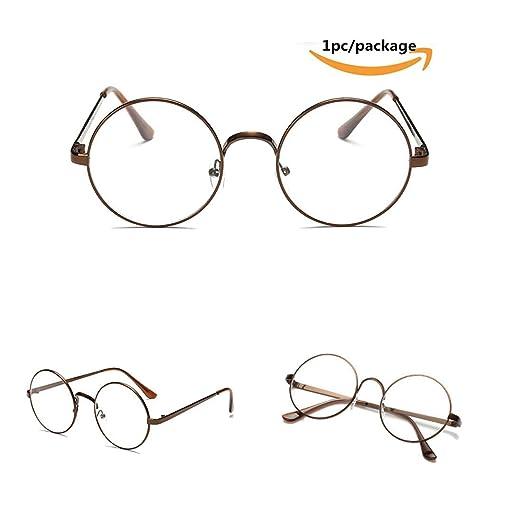 edff023d40c Funnyday Men Women Eyeglass Metal Frame Glasses Retro Spectacles Clear Lens  Nerd Eyewear (Copper