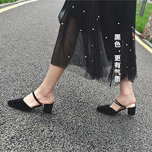 El Zapatos Cabeza Blanca EU38 Único Paquete Amarre Puntos Mujer Con Zapato Negro Cuadrada High Del Eu36 De De Con Heeled Gruesos Sandalias SHOESHAOGE Encabezado En Zqwx48dZ