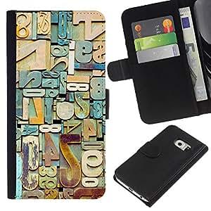 iBinBang / Flip Funda de Cuero Case Cover - Números basura metal Cartas trullo - Samsung Galaxy S6 EDGE SM-G925