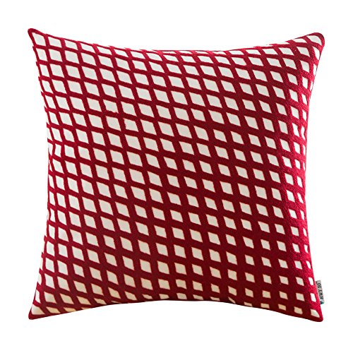 dered Christmas Decorative Throw Pillow Covers Cushion Cases for Couch Sofa Bed Living Room Wine Red Modern Geometric Plaid Pattern Burgundy 18 x 18 inch 45 x 45 cm, 1 Piece ()