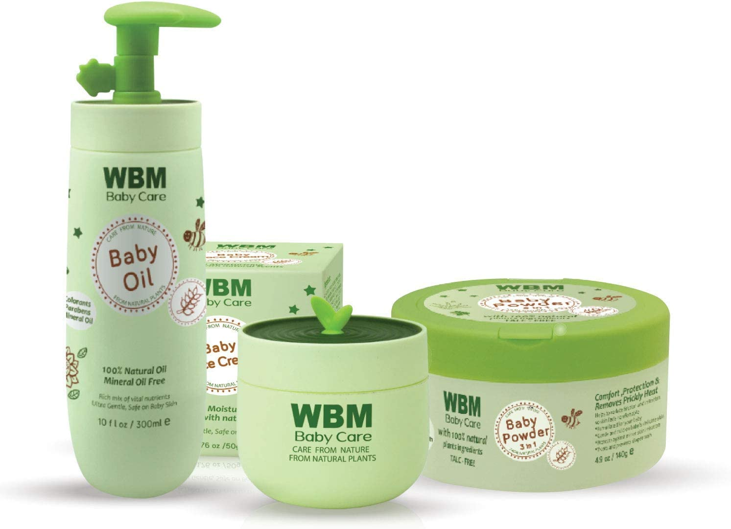 WBM Care Baby Care Gift Set With Baby Oil,Baby Powder And Face Cream - Essentials Skin Care Products ,Baby & Mommy Gift Set, 3 Items