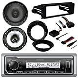 96-2013 Kenwood Marine Harley Touring Stereo Radio Install Adapter Dash Kit Flht Flhx Flhtc With 96-2013 Kenwood Harley Touring Speaker Package with Adapter Rings