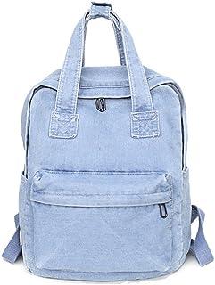 Girls Vintage Denim Backpack Jeans School Bag Travel Bag Rucksack Light Blue