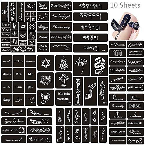 Jurxy 10 Sheets Henna Tattoo Stencil Kit Temporary Tattoo Templates Body Art Designs Self-Adhesive Reusable Tattoo…