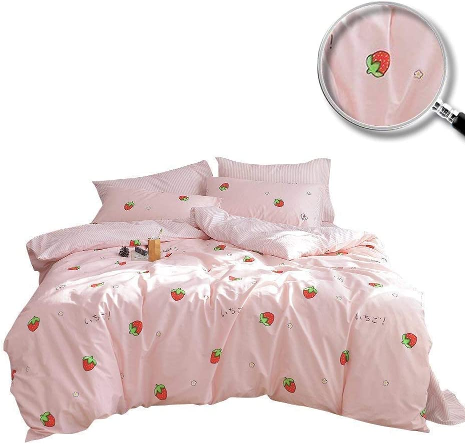 XUKEJU 100% Coton Bedding Bedroom 3 pcs Sets with 2 Envelope Pillowcase, Soft Duvet Cover for Kids/Teens/Adults Hidden zipper Quilt Cover Printed Strawberry Twin